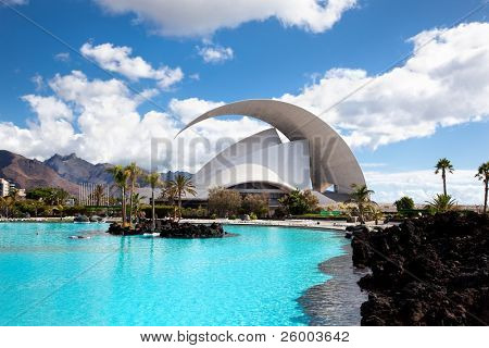 TENERIFE, SPAIN - SEPTEMBER 16: Auditorio de Tenerife on September 16, 2011 in Tenerife, Spain. It is designed by architect Santiago Calatrava Valls and has become an architectural symbol of city Santa Cruz de Tenerife.