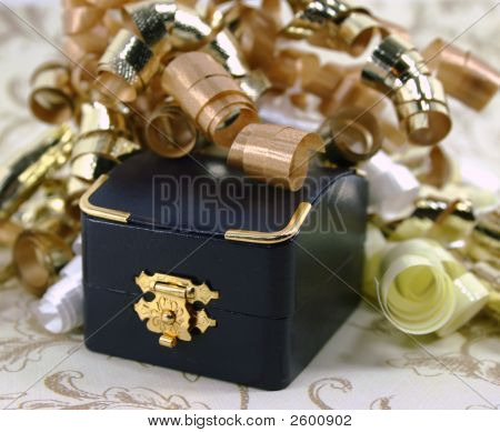 Closed Jewelry Box With Curly Ribbon