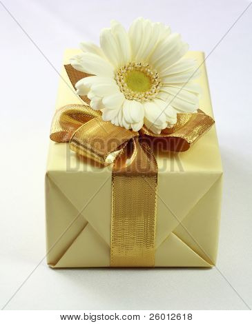 Present decorated with flower