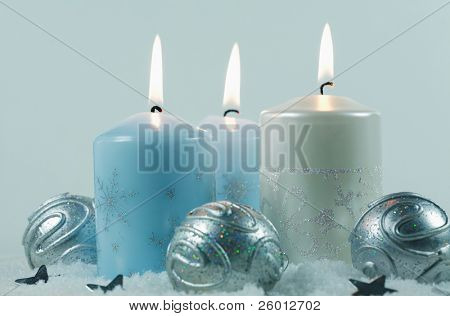 Christmas candlelight in blue tone