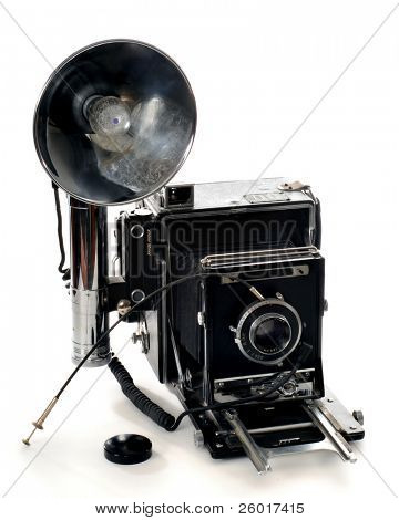 Large format 4x5 camera with flash.