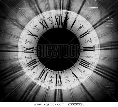 Vintage clock blurred in