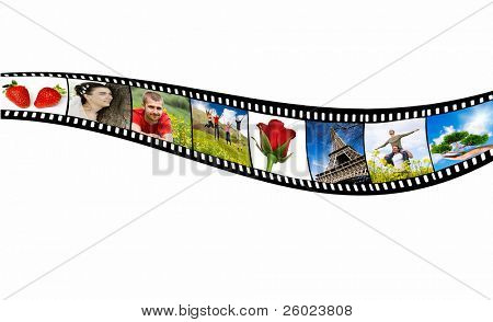 Film strips with holiday snapshots