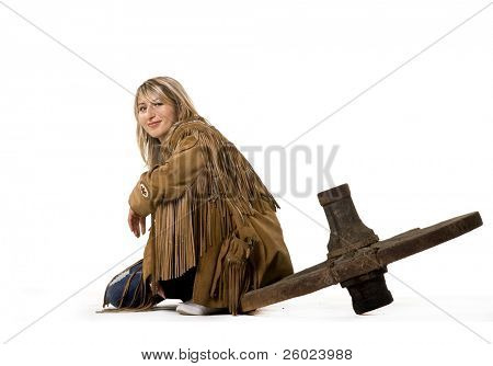 Sexy cow girl sitting on cart-wheel