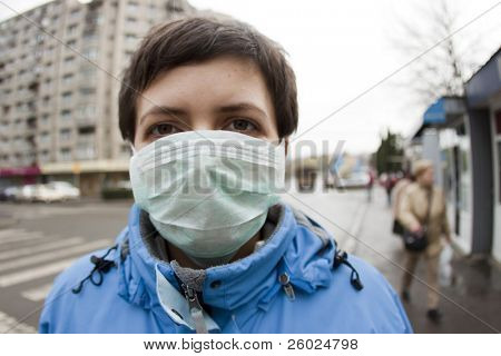 Woman wearing medical mask