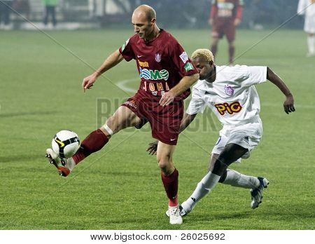 CLUJ-NAPOCA, ROMANIA - NOVEMBER 16: Muresan in action at a Romanian National Championship soccer game CFR Cluj vs. FC Arges, November 16, 2008 in Cluj-Napoca, Romania.