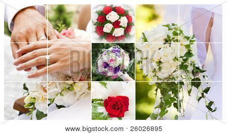 Set of wedding bouquet photos