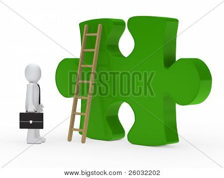 Businessman Stand Green Puzzle