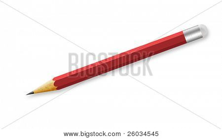 Sharpened red pencil on white background. Illustration