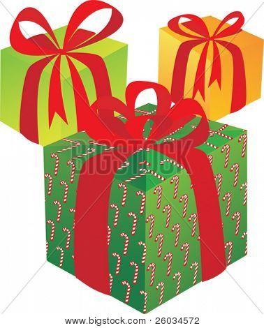Tres giftboxes en blanco. Ilustración de Vector