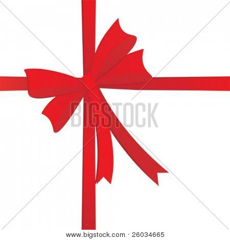 Red bow on white. Vector illustration