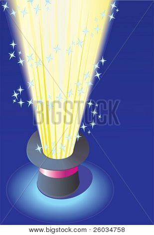 Magic hat with light. Vector illustration