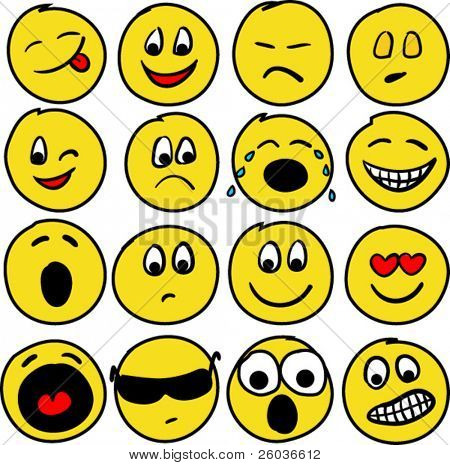 Collection of sixteen smiles. Vector illustration