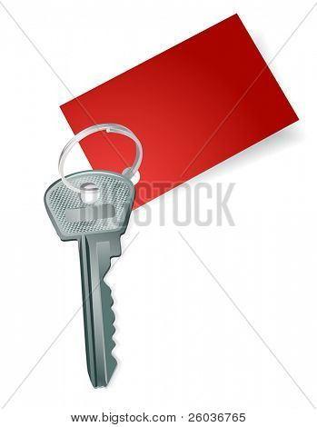 Key with a blank red label. Vector illustration