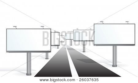 A billboards near a road. Vector illustration