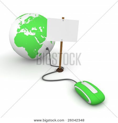 Surfing The Web In Green - Blocked By A White Rectangular Sign