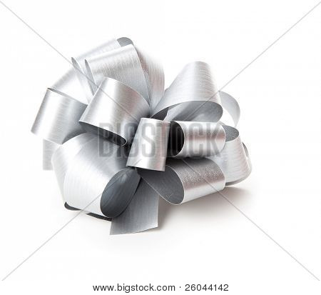 Gray bow. Isolated on the white background