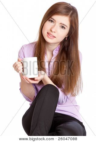 Young girl with mug with coffee. Isolated on white background