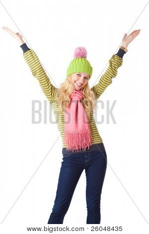 a beautiful smiling girl raises her hands up. isolated on a white background