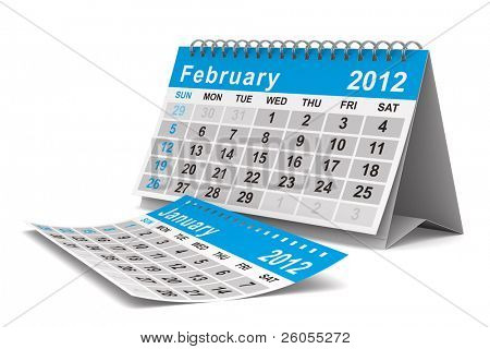 2012 year calendar. February. Isolated 3D image
