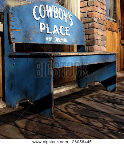 old blue cowboys bench