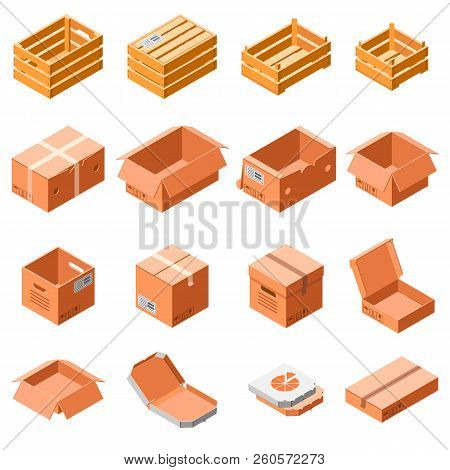 poster of Packing Box Icon Set. Isometric 3d Set Of Packing Box Icons For Web Design Isolated On White Backgro