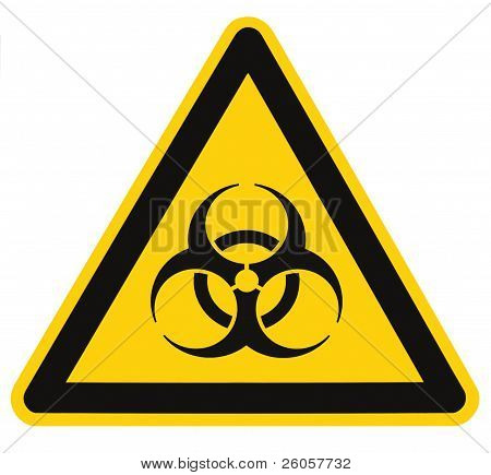 Biohazard Symbol Sign Of Biological Threat Alert Isolated Black Yellow Triangle Signage Macro