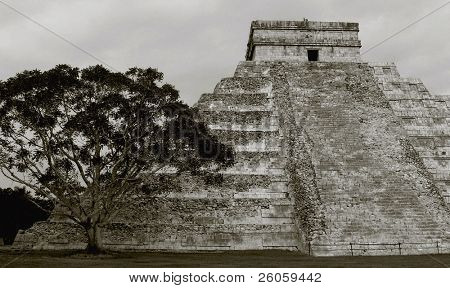 ancient aztec  pyramid toned  ptint