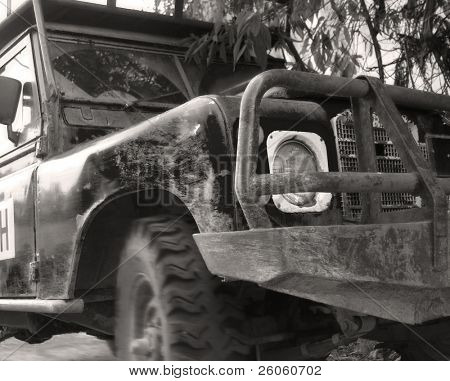 old land rover in monochrome