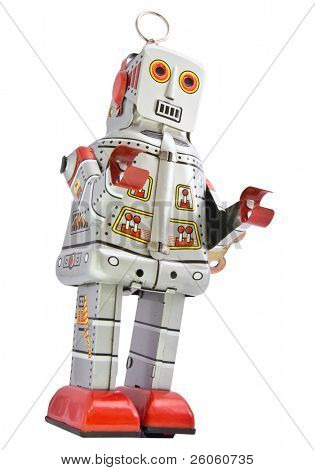 retro robot toy on white