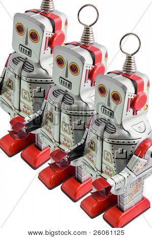 three retro toy  robots