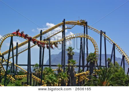 Roller-Coaster In Amusement Park, Cape Town,  South Africa