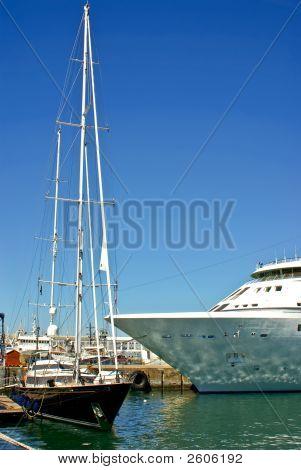 Ocean Yacht Near Luxury Passenger Cruise Liner