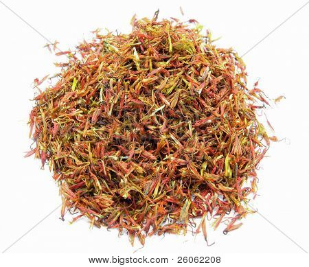 dried  saffron flower  on white