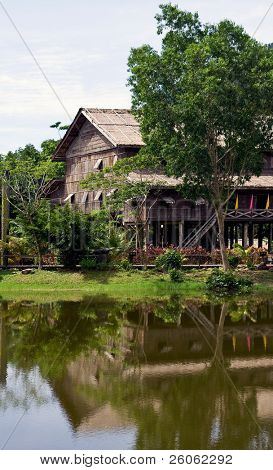 longhouse in sarawak  ( bornio )