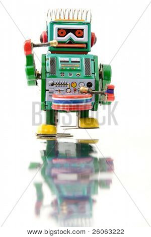 green retro robot toy (no trade mark )