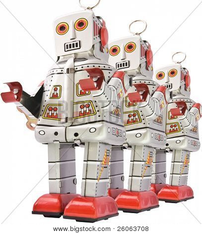 three robost  in line