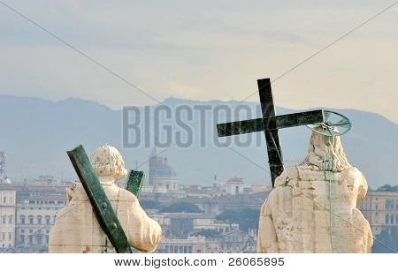 San Pietro's sculptures in Vatican - blessing  Rome and the World