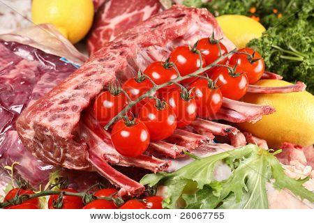 lamb ribs and cherry tomato