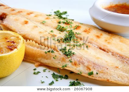 Grilled sole fish
