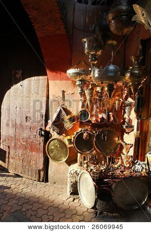 Antique shop in traditional Arab shopping center in medina (old town) in Morocco