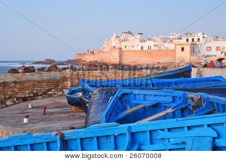 Blue boats in Essaouira, old Portuguese city in Morocco