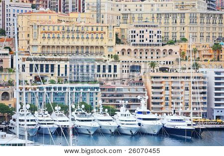 Boats and yachts in Monaco harbor