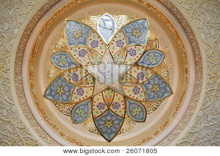 Decoration of Sheikh Zayed Mosque. Abu Dhabi, United Arab Emirates