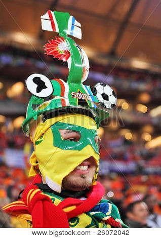 JOHANNESBURG - JULY 11 :  Final at Soccer City Stadium: Spain vs. Netherlands on July 11, 2010 in Johannesburg.  Spanish supporter