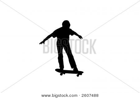Skate Boarder Silhouette Over White.