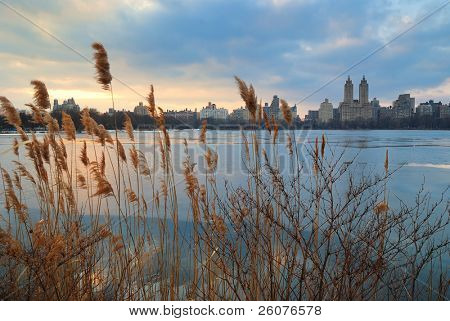 Central Park Sunset over icy lake, New York City