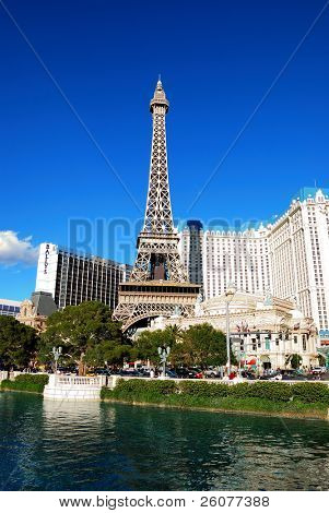 LAS VEGAS - MAR 4: Paris Las Vegas hotel and Casino Eiffel Tower replica with the theme of the city of Paris in France on March 4, 2010 in Las Vegas, Nevada.