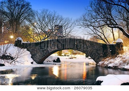 New York City Manhattan Central Park in winter with bridge over lake with snow, ducks and light at dusk.