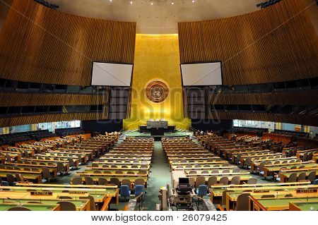 NEW YORK CITY, NY - MAR 30: The General Assembly Hall is the largest room in the United Nations with seating capacity for over 1,800 people. March 30, 2011 in Manhattan, New York City.